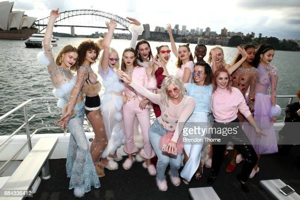 Designers Jameen Zalfen and Rachel Motteram pose with models following the Dyspnea show at MercedesBenz Fashion Week Resort 18 Collections on May 18...