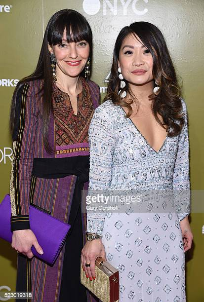 Designers Jenny Dina Kirschner and Peti Lau attend Housing Works Design On A Dime Opening Night Reception at Metropolitan Pavilion on April 21 2016...