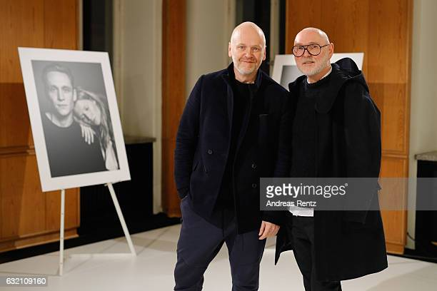 Designers Joerg Ehrlich and Otto Droegsler attend the 'Icons in Fashion' vernissage during the Der Berliner Mode Salon A/W 2017 at Kronprinzenpalais...