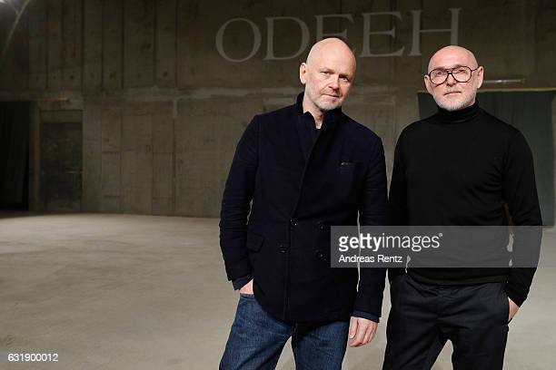 Designers Joerg Ehrlich and Otto Droegsler pose ahead of the Odeeh defile during the Der Berliner Mode Salon A/W 2017 at Kronprinzenpalais on January...