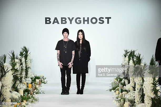 Designers Josh Hupper Qiaoran Huang pose at the Baby Ghost Presentation during Fall 2016 MADE Fashion Week at Milk Studios on February 13 2016 in New...
