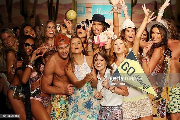 Designers Juliana Londono Andrea Gomez and Nani Valenzuela walk the runway with models at the Maaji Swimwear fashion show during Miami Swim Week 2016...