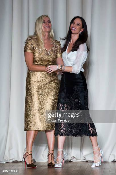 Designers Karen Craig and Georgina Chapman appear on the runway at the Marchesa show during London Fashion Week Spring Summer 2015 on September 13...