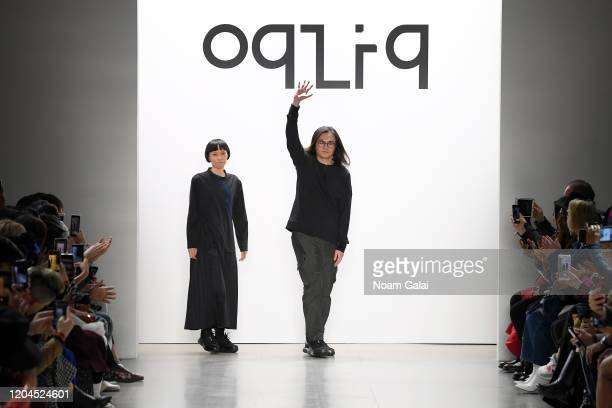 Designers Kay Hung and Orbit Lin walk the runway for OQLIQ during New York Fashion Week The Shows at Gallery II at Spring Studios on February 06 2020...