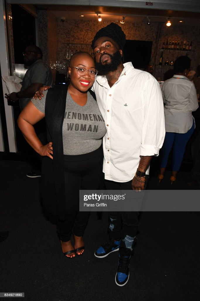Designers Kenya Freeman and Sir Garde at 'Project Runway' Season 16 Watch Party at The League Tavern on August 17, 2017 in Atlanta, Georgia.
