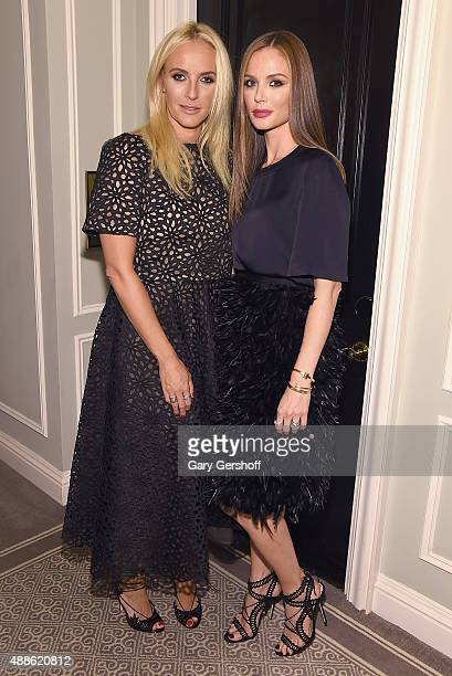 Designers Keren Craig and Georgina Chapman attend the Marchesa fashion show during Spring 2016 New York Fashion Week at St Regis Hotel on September...