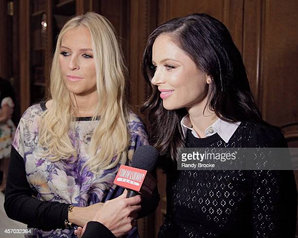 Designers Keren Craig and Georgina Chapman backstage after the Marchesa Fall 2015 Bridal Collection Show on October 10 2014 in New York City