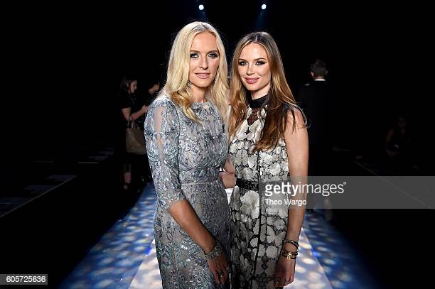 Designers Keren Craig and Georgina Chapman pose on the runway at the Marchesa fashion show during New York Fashion Week The Shows at The Dock...
