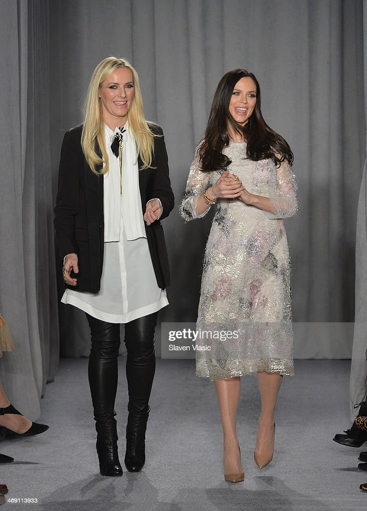 Designers Keren Craig (L) and Georgina Chapman walk the runway at the Marchesa fashion show during Mercedes-Benz Fashion Week Fall 2014 at New York Public Library on February 12, 2014 in New York City.