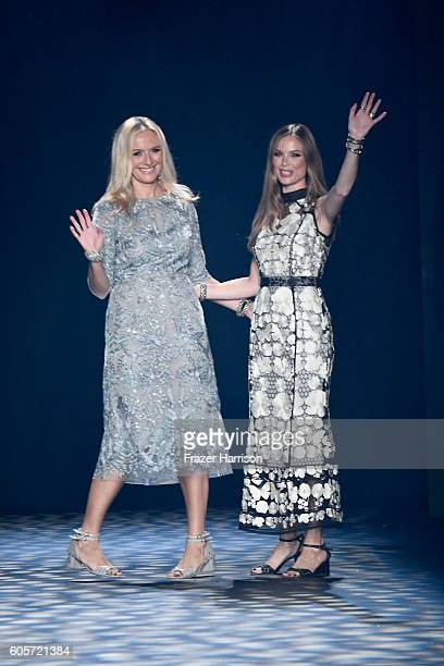 Designers Keren Craig and Georgina Chapman walk the runway at the Marchesa fashion show during New York Fashion Week The Shows at The Dock Skylight...