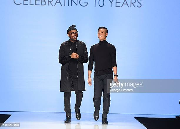Designers Kirk Pickersgill Stephen Wong present their 2016 collection during Toronto Fashion Week Fall 2016 at David Pecaut Square on March 18 2016...