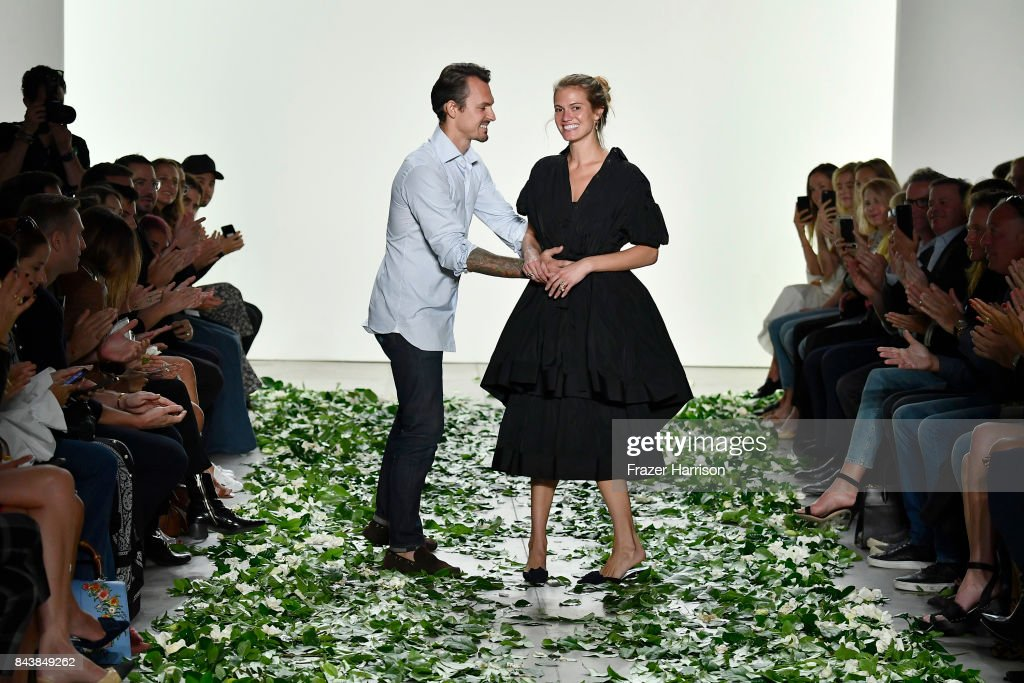 Designers Kristopher Brock and Laura Vassar walk the runway for the Brock Collection fashion show during New York Fashion Week Presented By MADE at Gallery 2, Skylight Clarkson Sq on September 7, 2017 in New York City.