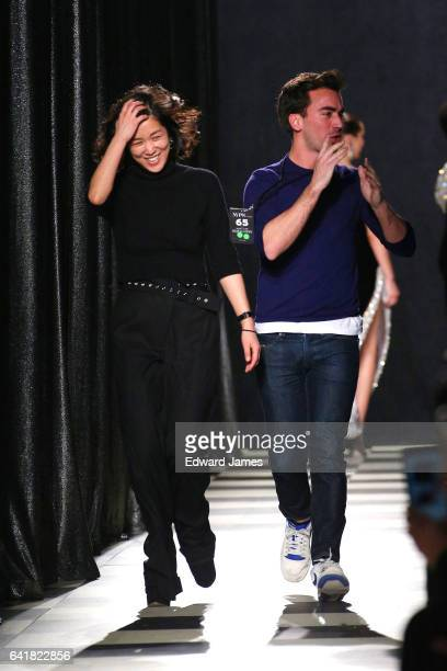 Designers Laura Kim and Fernando Garcia walk the runway during the Oscar de la Renta fashion show during New York Fashion Week at Skylight Clarkson...