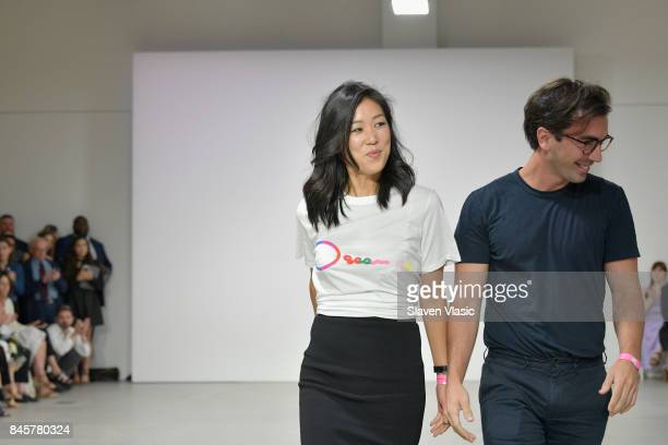 Designers Laura Kim and Fernando Garcia walk the runway for Oscar De La Renta fashion show during New York Fashion Week on September 11 2017 in New...