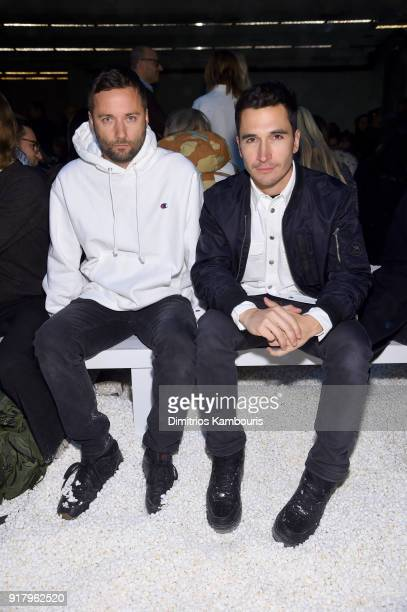 Designers Lazaro Hernandez and Jack McCollough of Proenza Schouler attend the Calvin Klein Collection front row during New York Fashion Week at New...