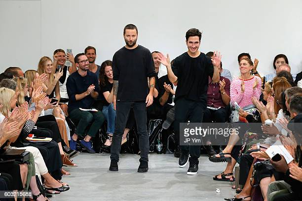 Designers Lazaro Hernandez and Jack McCollough take a final bow at the runway for the Proenza Schouler fashion show during New York Fashion Week...