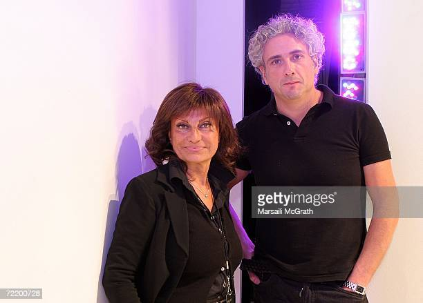 Designers Lidia Cardinale and Antonio Grimaldi pose backstage at the Italian Trade Commission presents Grimaldi Giardina and Lidia Cardinale Spring...
