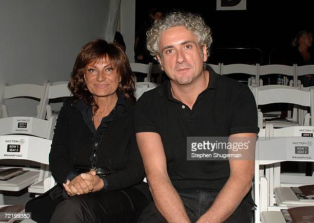 Designers Lidia Cardinale and Antonio Grimaldi pose in the front row at the Italian Trade Commission presents Grimaldi Giardina and Lidia Cardinale...