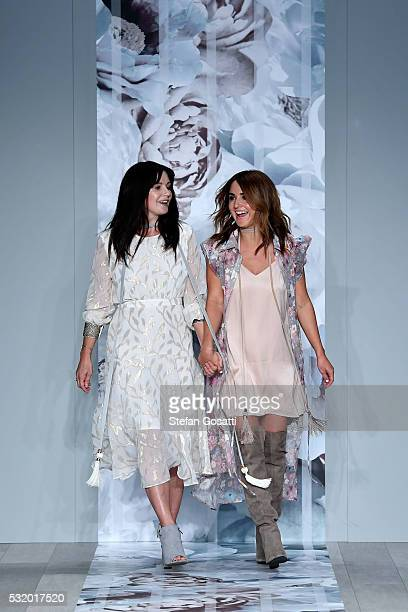 Designers Lizzie and Georgie Renkert thank the audience after the We Are Kindred show at MercedesBenz Fashion Week Resort 17 Collections at...