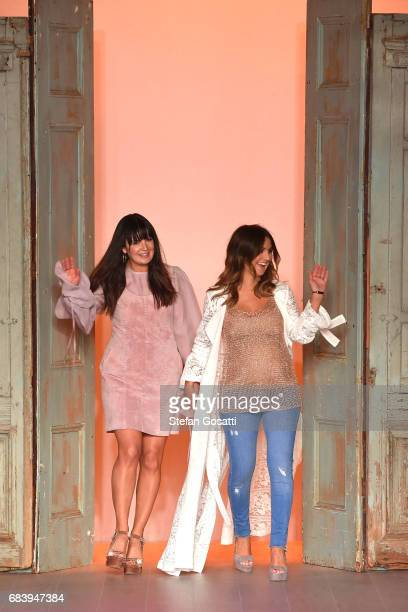 Designers Lizzie Renkert and Georgie Renkert thank the audience during the We Are Kindred show at MercedesBenz Fashion Week Resort 18 Collections at...