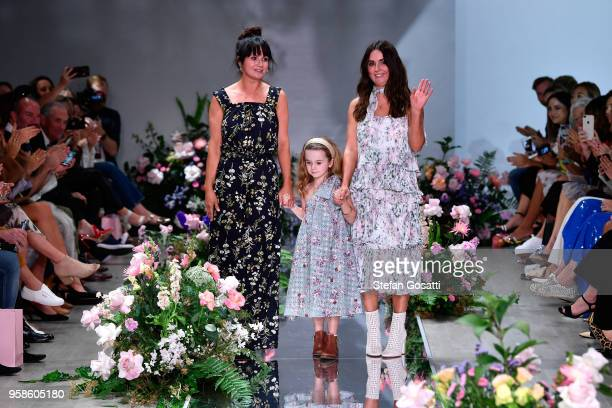 Designers Lizzie Renkert and Georgie Renkert thank the audience following the We Are Kindred show at MercedesBenz Fashion Week Resort 19 Collections...