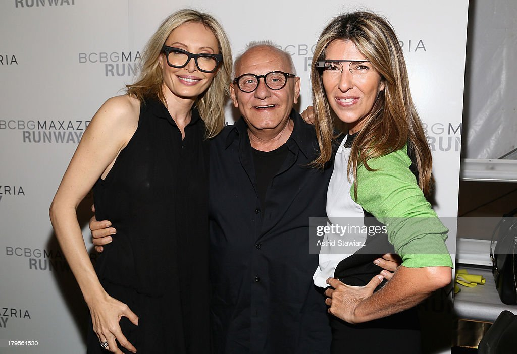 Designers Lubov Azria and Max Azaria pose with Marie Claire Creative Director Nina Garcia backstage at the BCBGMAXAZRIA Spring 2014 fashion show during Mercedes-Benz Fashion Week at The Theatre at Lincoln Center on September 5, 2013 in New York City.