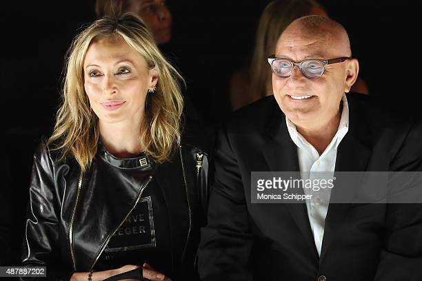 Designers Lubov Azria and Max Azria attend Herve Leger by Max Azria Spring 2016 during New York Fashion Week The Shows at The Arc Skylight at...