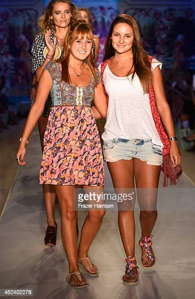 Designers Manuela Sierra and Amalia Sierra walk the runway at the Maaji Swimwear fashion show during MercedesBenz Fashion Week Swim 2015 at Oasis at...