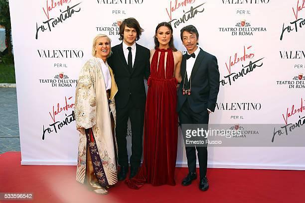 Designers Maria Grazia Chiuri James Righton Keira Knightley and Pierpaolo Piccioli attend the 'La Traviata' Premiere at Teatro Dell'Opera on May 22...