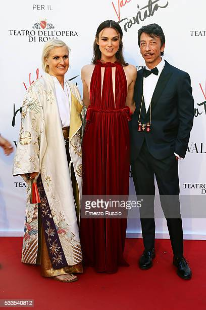 Designers Maria Grazia Chiuri Keira Knightley and Pierpaolo Piccioli attend the 'La Traviata' Premiere at Teatro Dell'Opera on May 22 2016 in Rome...