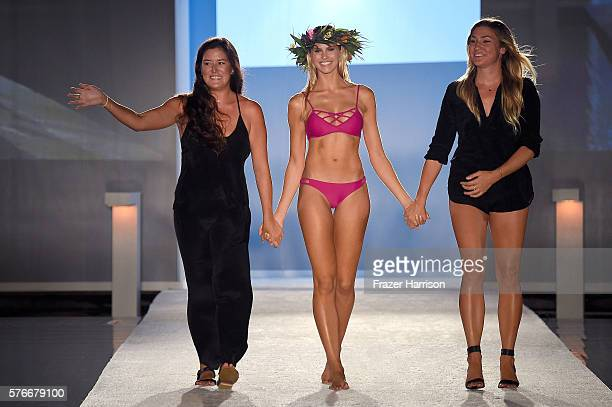 Designers Marissa Eveland and Melissa Jasniy stand on the runway at Issa de' Mar 2017 Collection at SwimMiami at W South Beach on July 16 2016 in...