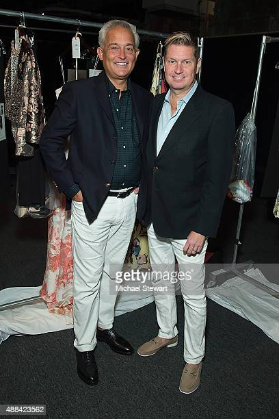 Designers Mark Badgley and James Mischka attend the Badgley Mischka fashion show during Spring 2016 New York Fashion Week at The Arc Skylight at...