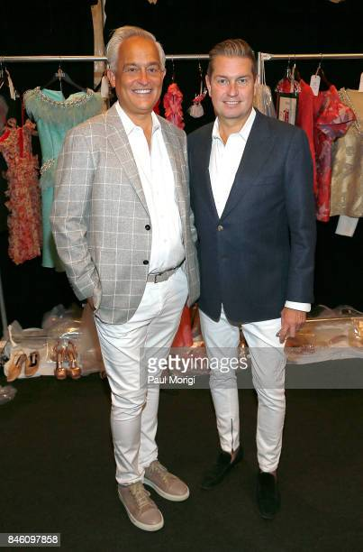 Designers Mark Badgley and James Mischka backstage at the Badgley Mischka fashion show during September 2017 New York Fashion Week The Shows at...