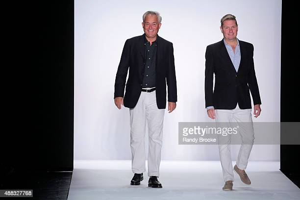 Designers Mark Badgley and James Mischka greet the audience at the finale from the Badgley Mischka Runway Spring 2016 New York Fashion Week The...