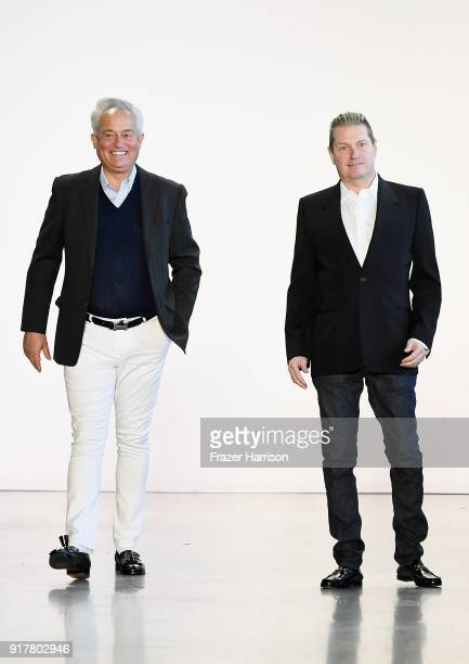 Designers Mark Badgley and James Mischka take a bow on the runway for Badgley Mischka during New York Fashion Week The Shows at Gallery I at Spring...