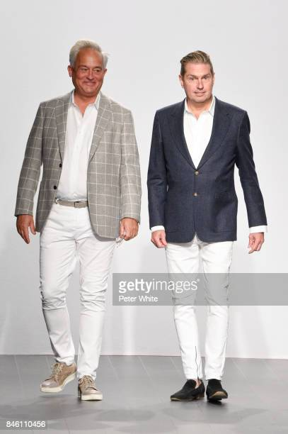 Designers Mark Badgley and James Mischka walk the runway after the Badgley Mischka fashion show during September 2017 New York Fashion Week The Shows...