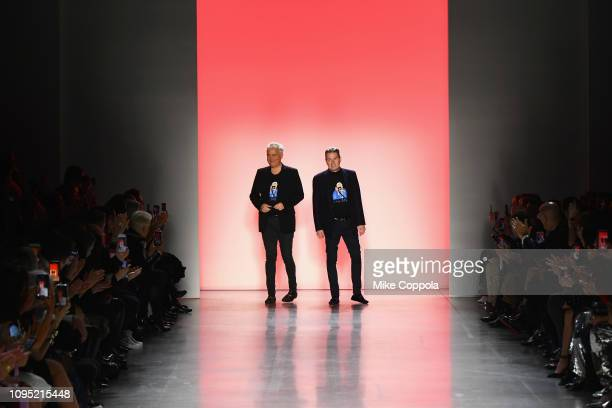 Designers Mark Badgley and James Mischka walk the runway for the Badgley Mischka fashion show during New York Fashion Week The Shows at Gallery I at...