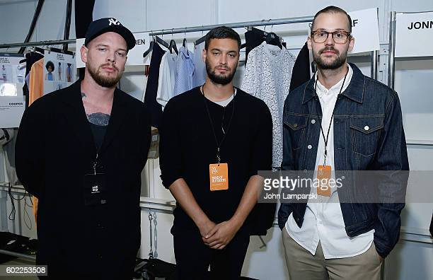 Designers Matthias Weber Slorian Steer and Niklaus Hooel attend Band Of Outsiders show on September 2016 New York Fashion Week The Shows at The...
