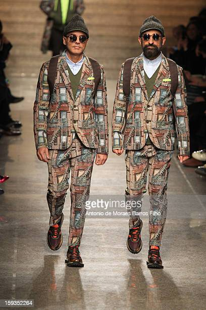 Designers Maurizio Modica and Pierfrancesco Gigliotti of Frankie Morello walk the runway during the Frankie Morello show as a part of Milan Fashion...
