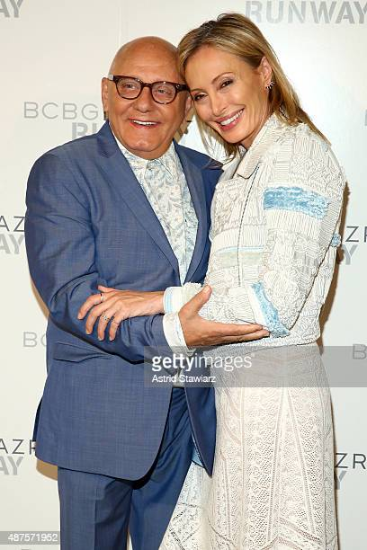 Designers Max Azria and Lubov Azria pose backstage at the BCBGMAXAZRIA fashion show during Spring 2016 New York Fashion Week The Shows at The Arc...