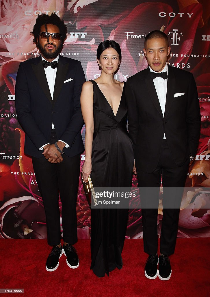 Designers Maxwell Osborne (L) and Dao-Yi Chow (R) and Canis Chow attend the 2013 Fragrance Foundation Awards at Alice Tully Hall at Lincoln Center on June 12, 2013 in New York City.