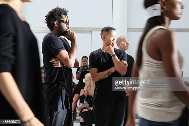 Designers Maxwell Osborne and DaoYi Chow attend rehearsal before DKNY Women's Spring 2016 during New York Fashion Week The Shows on September 16 2015...