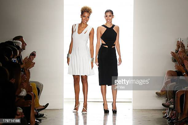 Designers Michelle Ochs and Carly Cushnie walk the runway at Cushnie Et Ochs show during Spring 2014 MADE Fashion Week at Milk Studios on September 6...