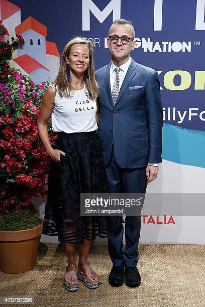 Designers Michelle Smith and Steven Kolb attend Milly For DesigNation Collection Launch at Isola Trattoria Crudo Bar on April 22 2015 in New York City