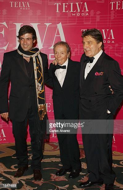 Designers Miguel Palacio Manuel Pertegaz and Emnuel Ungaro attend the Magazine Telva Awards at the Palace Hotel October 28 2002 in Madrid Spain