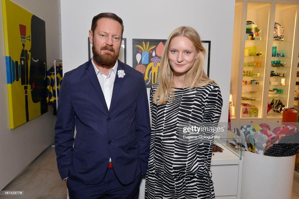 Designers Mika Pirainen and Aino Maija Metsok attend the Gotham Magazine Celebrates An Evening Of The Art Of Printmaking At Marimmeko on November 8, 2013 in New York City.