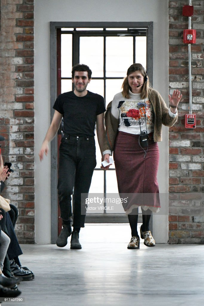 Designers Mike Eckhaus and Zoe Latta walk the runway for Eckhaus Latta Ready to Wear Fall/Winter 2018-2019 fashion show during New York Fashion Week on February 10, 2018 in New York City.