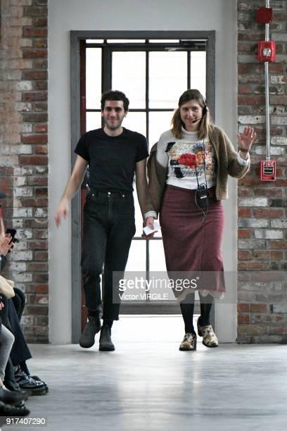 Designers Mike Eckhaus and Zoe Latta walk the runway for Eckhaus Latta Ready to Wear Fall/Winter 20182019 fashion show during New York Fashion Week...