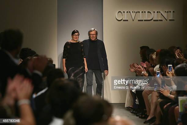Designers Miriam Cividini and Piero Cividini acknowledge the applause of the public after the Cividini Show as part of Milan Fashion Week Womenswear...