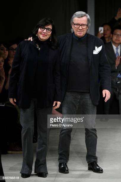 Designers Miriam Cividini and Piero Cividini step on to the runway at the Cividini show during Milan Fashion Week Fall/Winter 2017/18 on February 25...